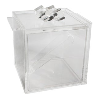 "Modernist Lucite ""Ice Cube"" Ice Bucket With Tongs For Sale"