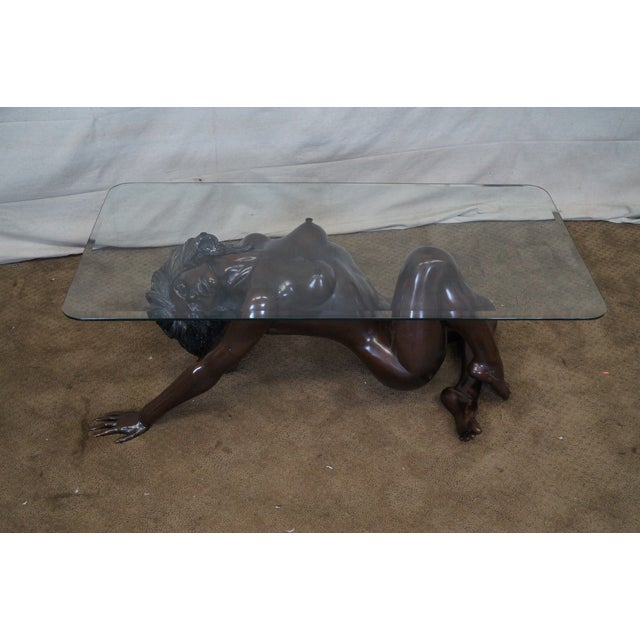 Bronze Nude Base & Glass Top Coffee Table For Sale - Image 10 of 10