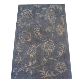 5' X 8' Melody Gray & Beige Wool Tufted Floral Rug by Jaunty For Sale