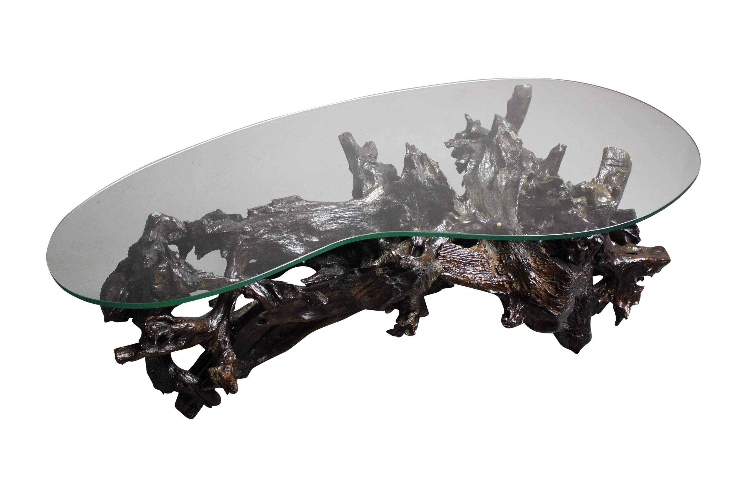 Merveilleux 70s Driftwood Coffee Table Kidney Shaped Glass Top