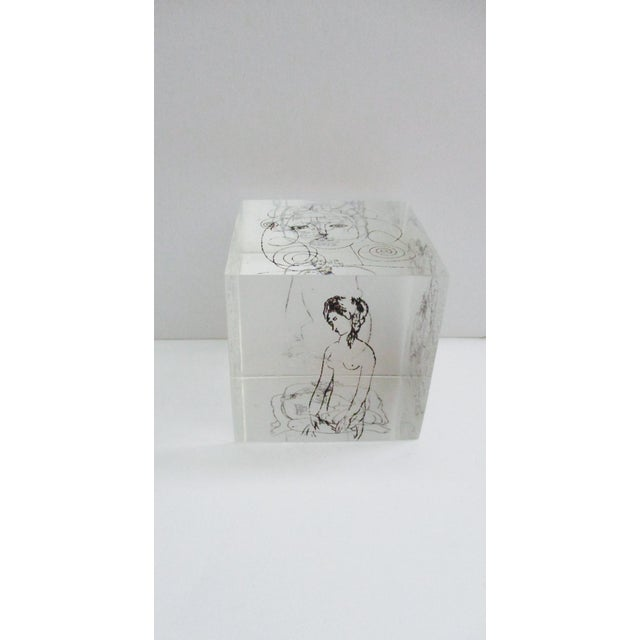 Pablo Picasso's famous erotic drawings on a Lucite Cube. Thick Lucite or Acrylic in excellent preowned condition So...