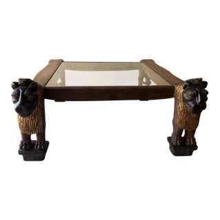 Egyptian Revival Style Lion Coffee Table
