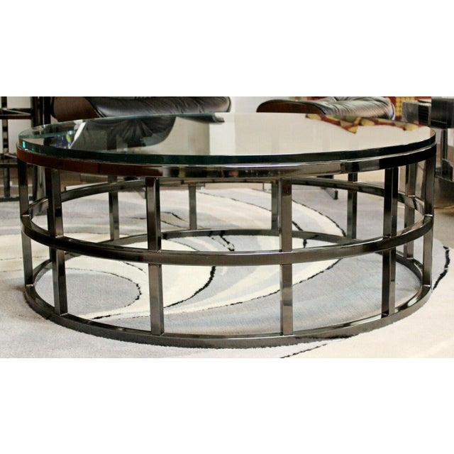 Contemporary Contemporary Modernist Large Round Gunmetal Glass Coffee Table Brueton 1980s For Sale - Image 3 of 10
