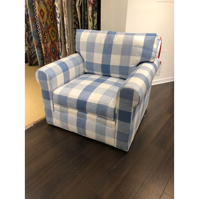 Blue 21st Century Scalamandre Swivel Chair For Sale - Image 8 of 8