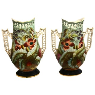 19th Century French Porcelain Hand-Painted Vases - a Pair