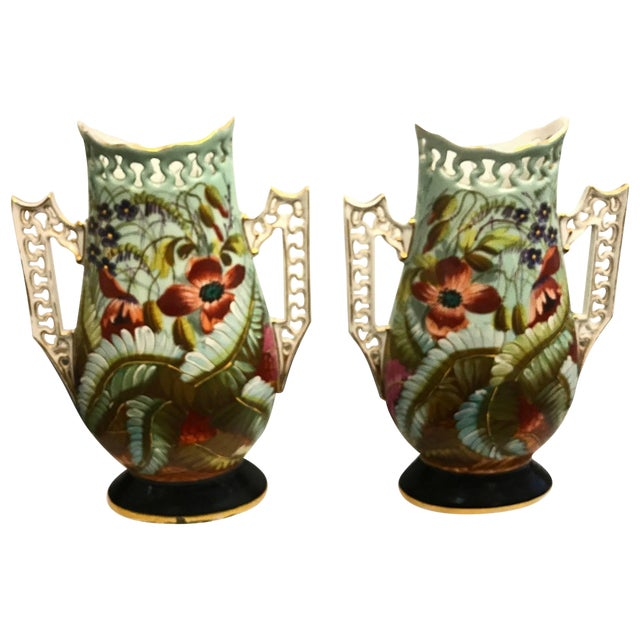 19th Century French Porcelain Hand-Painted Vases - a Pair For Sale