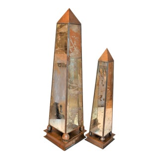 Maitland-Smith Mirrored Obelisks - a Pair For Sale