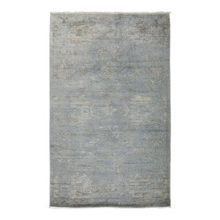 One-Of-A-Kind Contemporary Hand-Knotted Area Rug, Blue, 3' 3 X 5' 3 For Sale