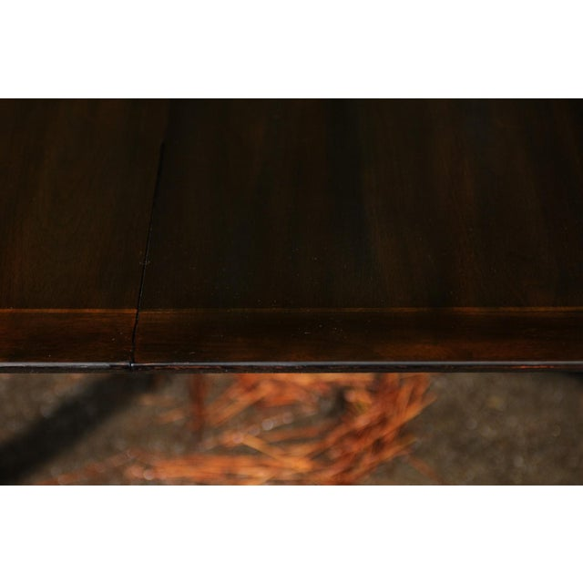 Majestic Restored Elliptical Walnut Extension Dining Table by Baker, circa 1958 For Sale In Atlanta - Image 6 of 11