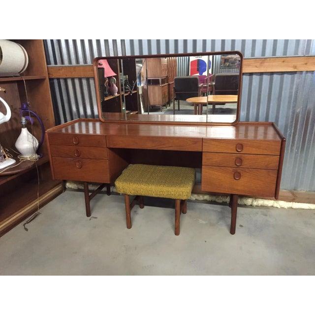 Mid-Century Danish Modern Teak Vanity Desk & Stool - Image 2 of 8