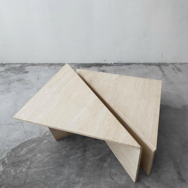 Angelo Mangiarotti 2 Piece Tiered Post-Modern Italian Travertine Coffee Table For Sale - Image 4 of 8