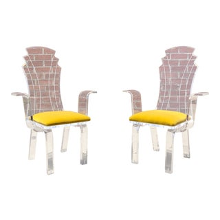 1960s Vintage Sculptural Lucite Chairs- A Pair For Sale