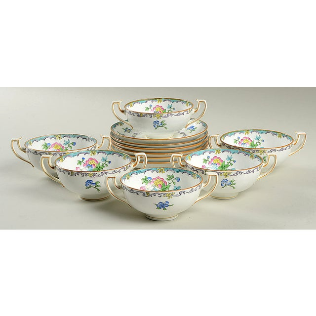 Minton Double Handled Footed Bowl and Saucer - Set of 6 For Sale - Image 13 of 13