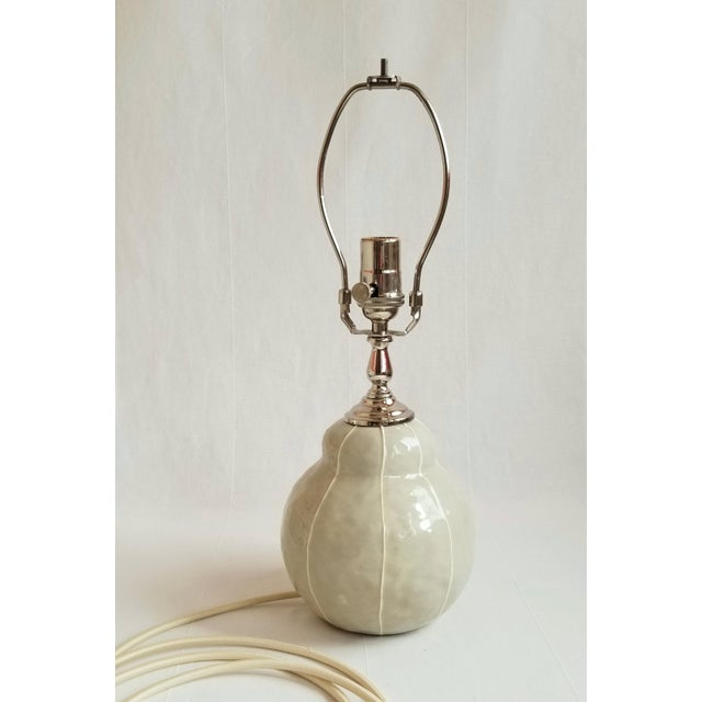 Ceramic Gray with White Pinstripes Table Lamp For Sale - Image 7 of 7