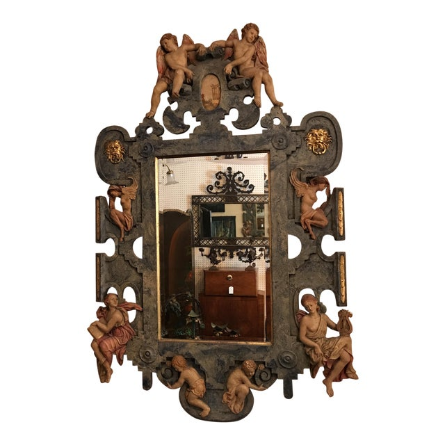 Hand Carved Lambasted Mirror For Sale