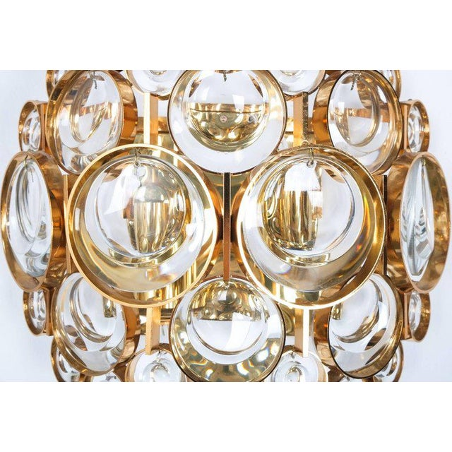 Palwa Pair of Gold-Plated Brass and Crystal Glass Wall Lamps Sconces by Palwa, 1960 For Sale - Image 4 of 8