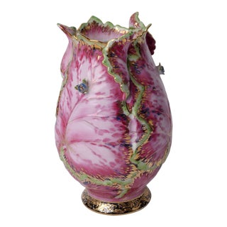 Vintage Pink Botanic Sculpted Chinoiserie Ceramic Leaf Vase For Sale