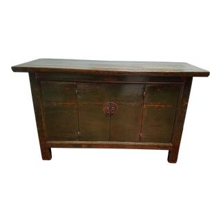 Antique Chinese Green/Brown Lacquer Sideboard For Sale