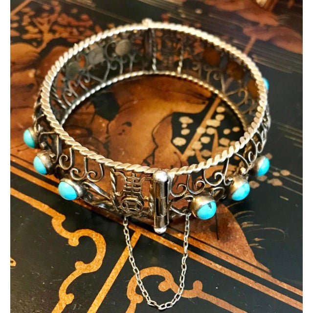 1940 Chinese Gold, Sterling and Turquoise Bangle For Sale In Los Angeles - Image 6 of 8