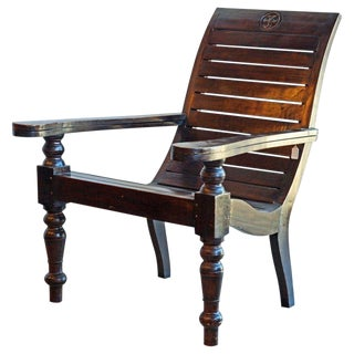 20th Century Colonial Style Hardwood Slat Seat Planters Chair For Sale