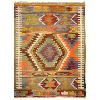 Vintage Turkish Kilim Sofreh - 3'2'' x 3'10''