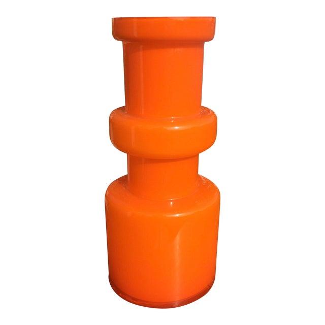 Alsterfors Swedish Orange Glass Vase, 1970s For Sale