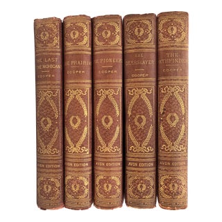 19th Century James Fenimore Cooper Books Red Cover - Set of 5