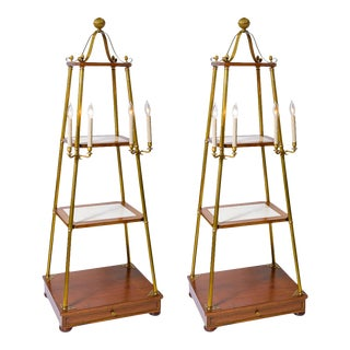 C.1940's Obelisks Mahogany Wood & Marble Electrified Etageres, A-Pair For Sale