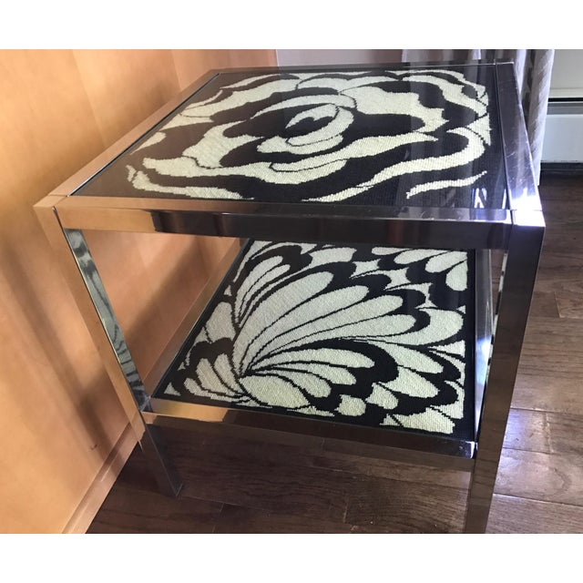 Mastercraft Chrome and Custom Pucci Style Needlepoint 1960's Side Table - Image 4 of 9