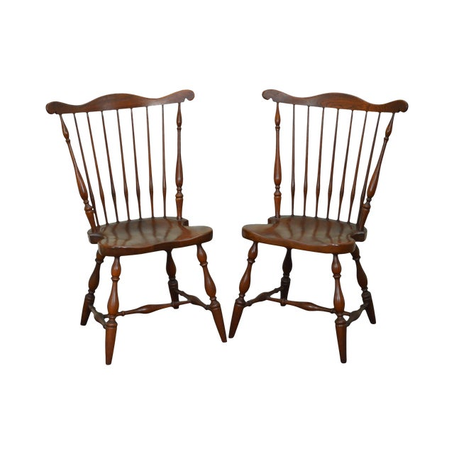 Harden Solid Cherry Windsor Style Side Dining Chairs A Pair