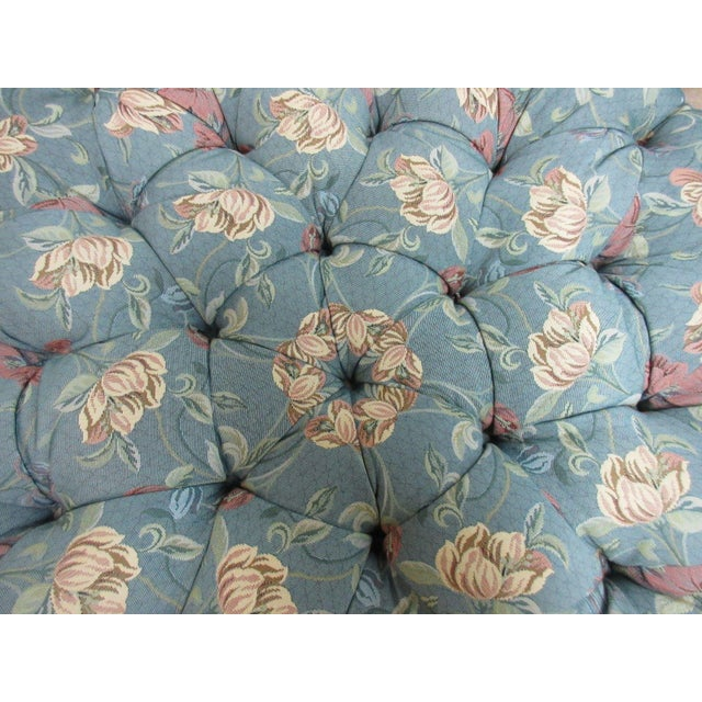 Textile Henredon Tufted Round Schoonbeck Hobb Nail Ottoman Foot Stool Bench Seat For Sale - Image 7 of 11