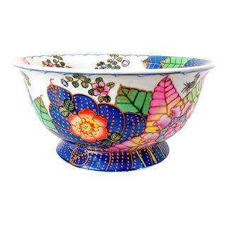 1980s Chinoiserie Tobacco Leaf Footed Bowl For Sale