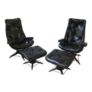 Mid-Century Homecrest Lounge Chairs & Ottomans - Set of 4 For Sale