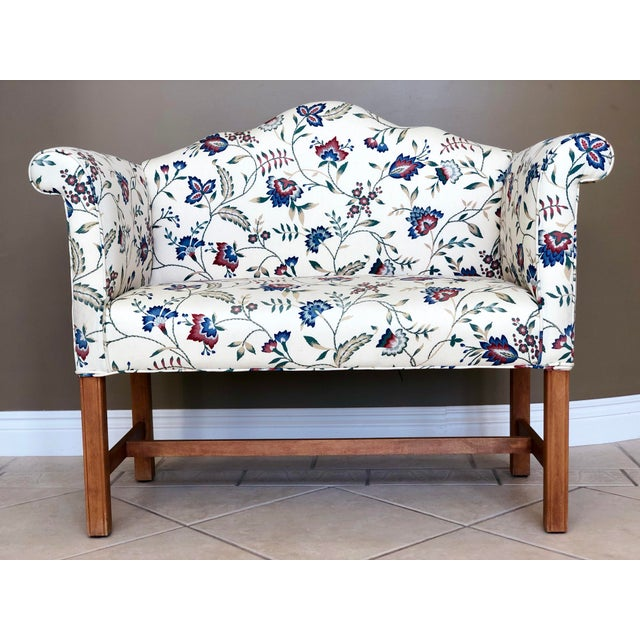 Vintage Camelback Chippendale Mahogany Floral Sofa For Sale - Image 9 of 9