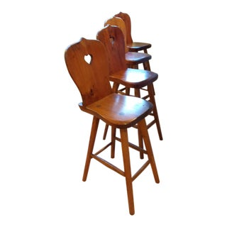 "1970's Wooden ""Heart"" Bar Stools - Set of 4 For Sale"