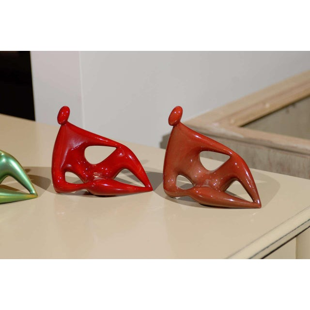 Mid-Century Modern Zsolnay Ceramic Red and Green Figures - Set of 4 For Sale - Image 3 of 11