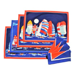 1980s Hermes Yachting Placemats & Napkin Set - 8 Pieces For Sale