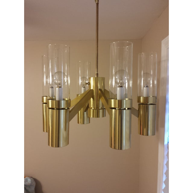 Brass 6 Arm Chandelier Attributed to Sciolari - Image 3 of 8