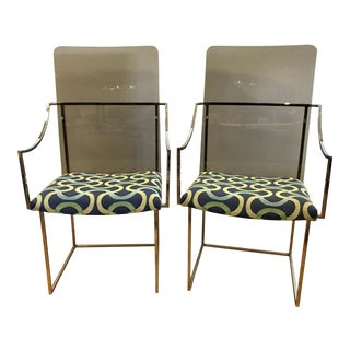 Vintage Milo Baughman for Thayer Coggin Lucite Chrome Chairs- a Pair For Sale
