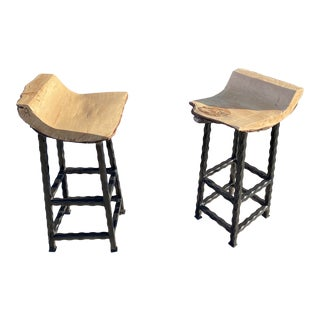 1990s Vintage Hand Made Wood and Metal Bar Stools - a Pair For Sale