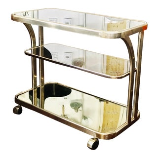1970's Italian Brass 3-Tiered Bar Cart With Smoked Mirrored Glass For Sale