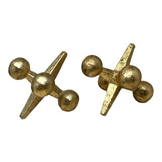 Vintage Distressed Gold Leaf Cast Iron Jack Paperweight – a Pair For Sale