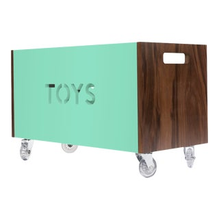 Toy Box Chest on Casters in Walnut With Mint Finish For Sale