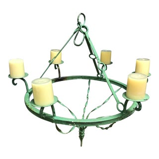 Green Iron Candle Chandelier For Sale