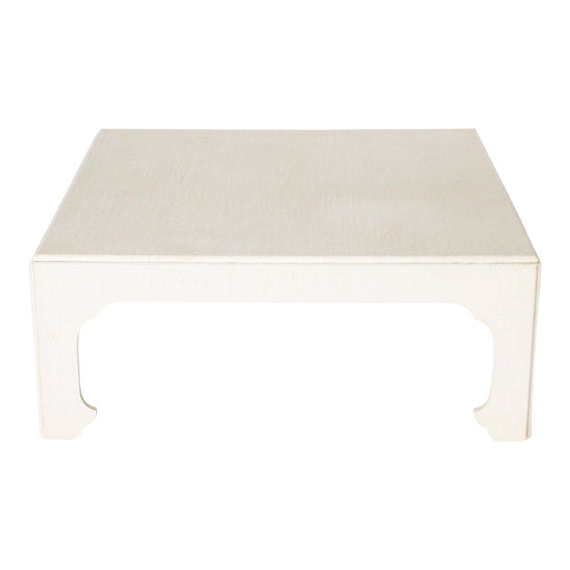 1970s White Ivory Lacquered Crackle Coffee Table For Sale