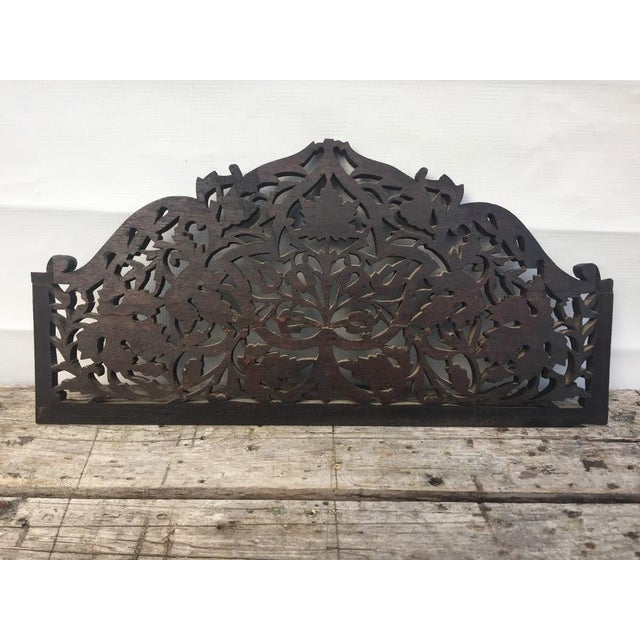 4-Panel East Indian Hand Carved Wood Screen Divider For Sale - Image 10 of 13