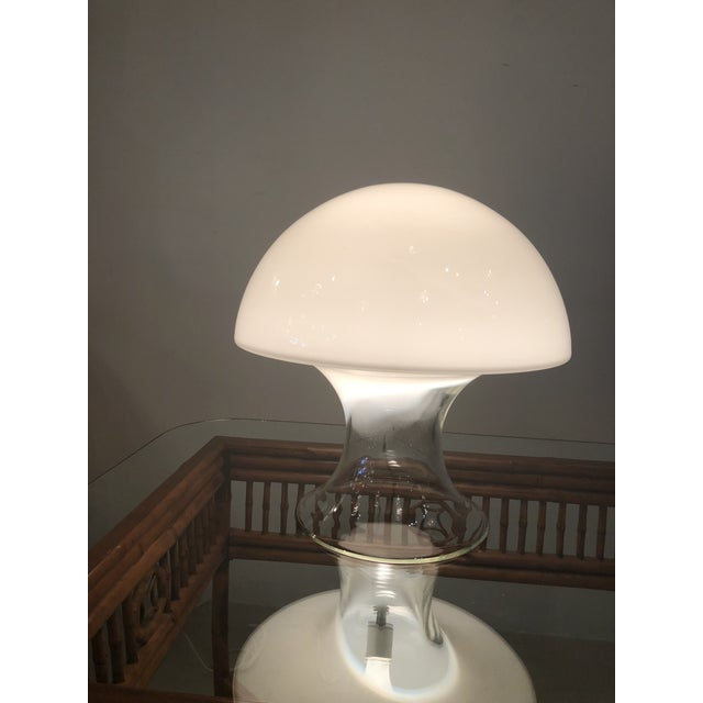 Vintage Murano Italian Vistosi mushroom glass table lamp. The bottom edge rim has a small knick which is pictured.