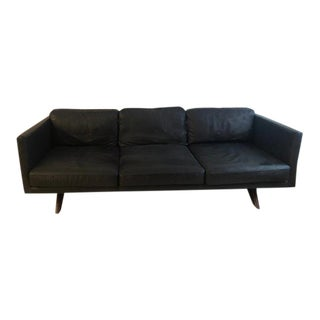 "West Elm ""Brooklyn"" Black/Navy Leather Sofa / Couch"