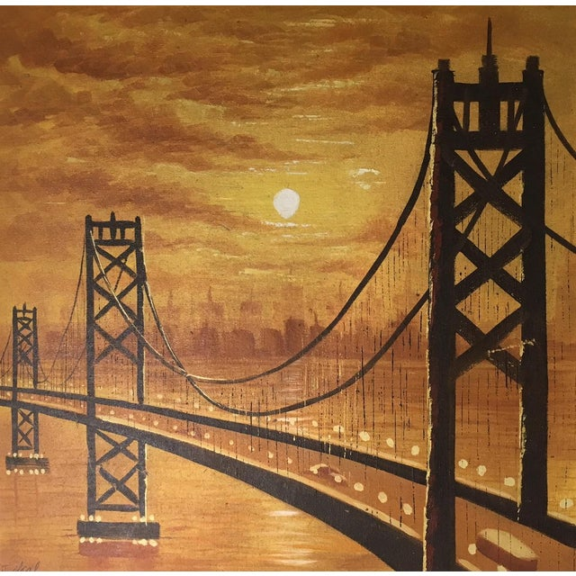 Realism Vintage Mid-Century Suspension Bridge at Sunset Painting For Sale - Image 3 of 4
