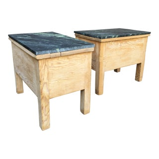 Pine and Marble Side Tables - A Pair For Sale